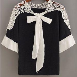 Tops - NWOT Adorable black & white crochet bow top